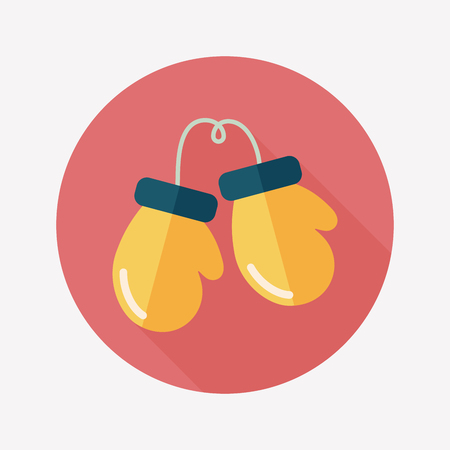 boxing gloves flat icon with long shadow