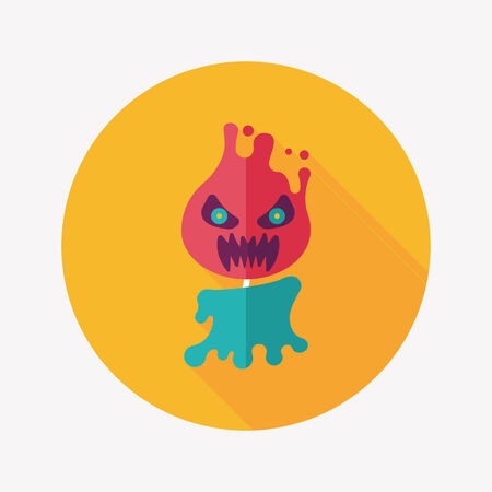 Halloween flame devil flat icon with long shadow