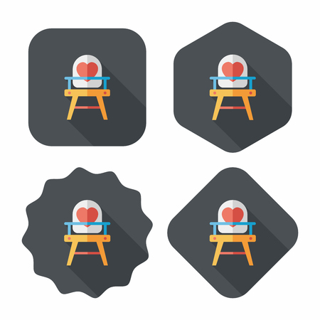 Baby High Chair Flat Icon With Long Shadow Eps10 Lizenzfreie