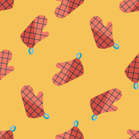 kitchenware oven mitts flat icon,eps10 seamless pattern background