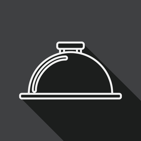 Restaurant cloche flat icon with long shadow, line icon