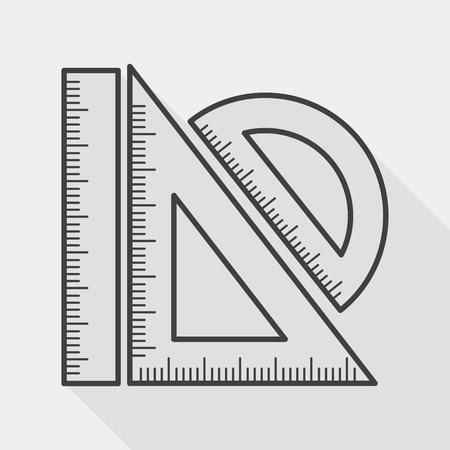 Illustration pour Ruler flat icon with long shadow, line icon - image libre de droit