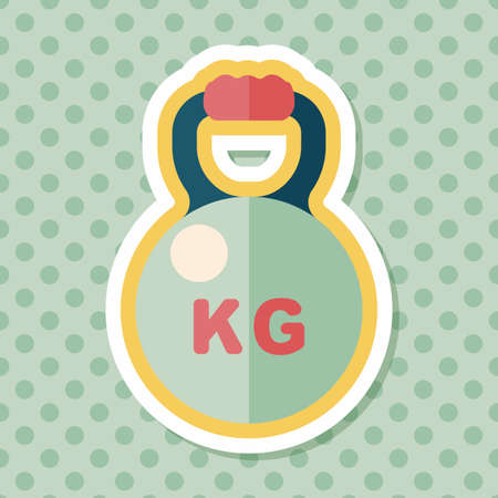 kettle bells flat icon with long shadow