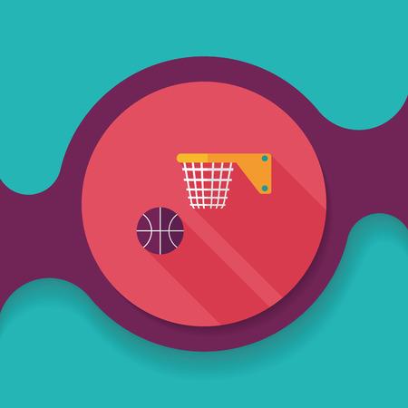 Ilustración de Basketball flat icon with long shadow,eps10 - Imagen libre de derechos