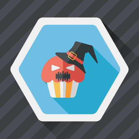 Halloween cupcakes with ghost flat icon with long shadow