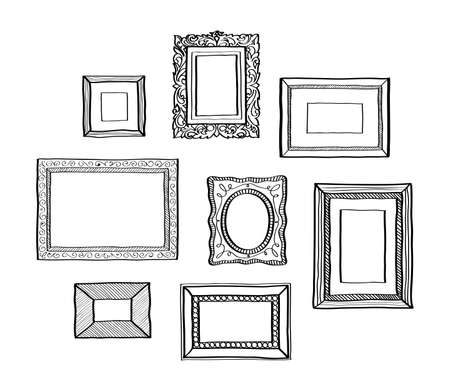 Illustration pour Vector set of vintage photo frames hand drawn doodle style antique ornamental and cute photo frames for decoration and design - image libre de droit