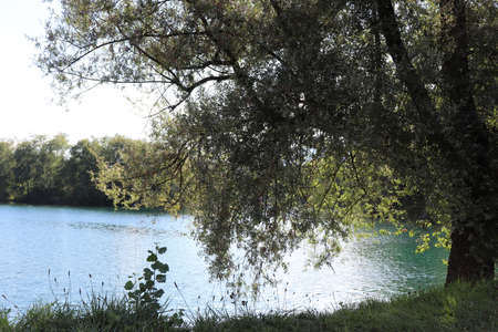Photo pour The body of water or lake surrounded by greenery in the leisure center of Grésy sur Isère, Savoie department, France, France - image libre de droit