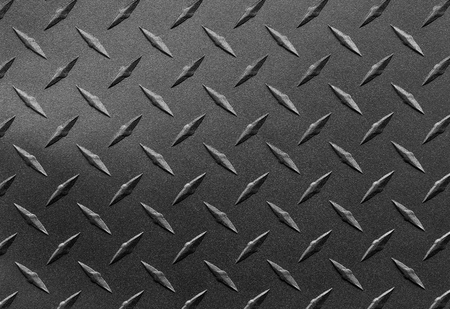 Photo for Close up of grainy textured steel sheet with diamond plate pattern, metallic background - Royalty Free Image