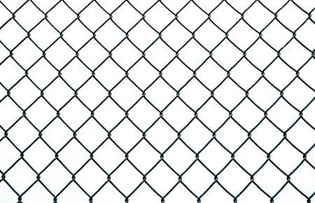 Photo pour Diamond shaped wire fence pattern isolated on white - image libre de droit