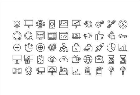 Illustration pour icon set web business with outline style - image libre de droit