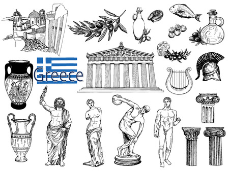 Illustration pour Set of hand drawn sketch style Greek themed objects isolated on white background. Vector illustration. - image libre de droit