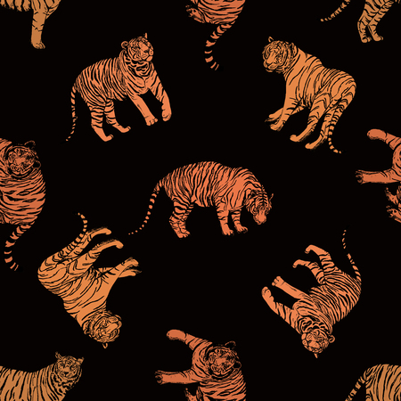 Illustration for Seamless pattern of hand drawn sketch style tigers. Vector illustration isolated on black background. - Royalty Free Image