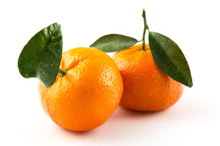 two clementines wiith white background