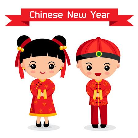 Cartoon of Chinese Boy   Girl, chinese New Year