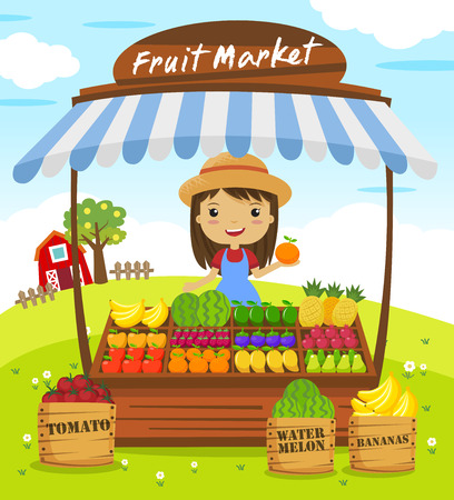 Fruit shop stall. farmers market, cartoon characters vector illustration