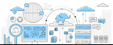 Illustration pour hadoop big data concept, info graphic business line icon - flat design vector - image libre de droit