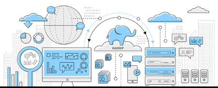 Ilustración de hadoop big data concept, info graphic business line icon - flat design vector - Imagen libre de derechos