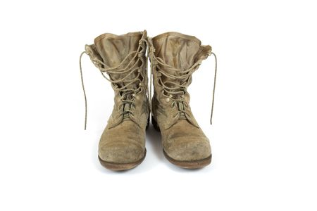 American Army desert boots from Desert Storm war on white background