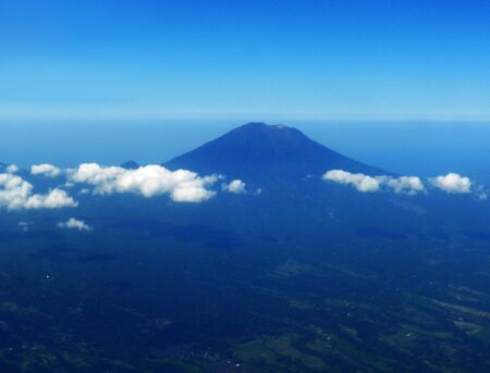 Dormant volcano on Bali, from the air