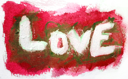 love painted, the word love hand-painted, artistic word love, vivid paint reds and whites vignette