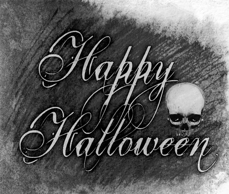 Happy Halloween grunge watercolor style lettering with scribbled paint texture and skull image, grays, monochrome.