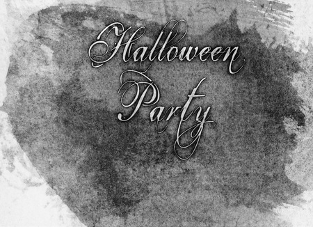 Halloween Party watercolor style lettering in an ornate font, grays, monochrome.