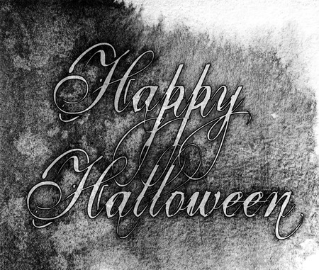 Happy Halloween grunge watercolor style lettering, grays, monochrome.