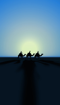 Three Kings Christmas card with the 3 wise men on camels with sunset and realistic shadows on a simple desert landscape, blue tints, tall.