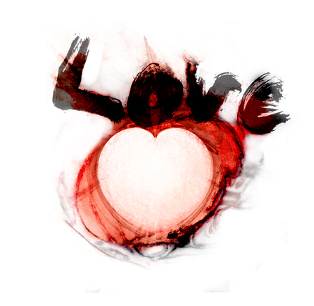 Beautiful grunge love concept, with the word love rough-painted and a fractal heart-shape, grays and reds.