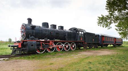 Original passengers steam-power train from the Orent Express era at the old railway station in Edirne, Turkey
