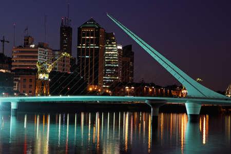 Bridge of the Woman (Puente De La Mujer) by night, Buenos Aires, Argentina
