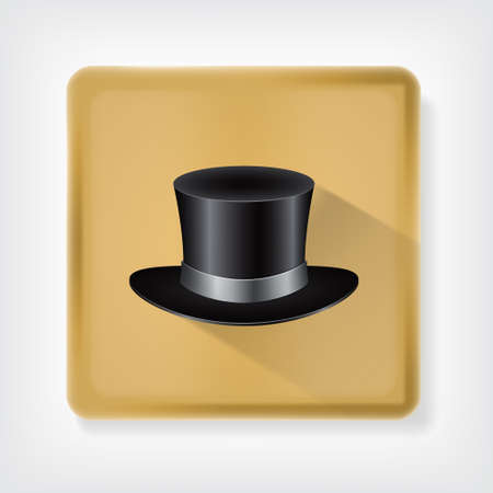 Classic hat. Icon with long shadow. vector