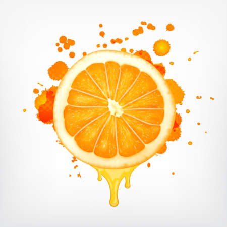Orange slice with dripping juice