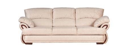 Photo pour Beige sofa isolated on white background - image libre de droit