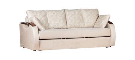 Photo pour White sofa with cushions isolated - image libre de droit