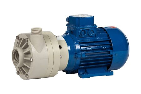 Photo pour New industrial centrifugal pump with AC motor isolated on white background - image libre de droit