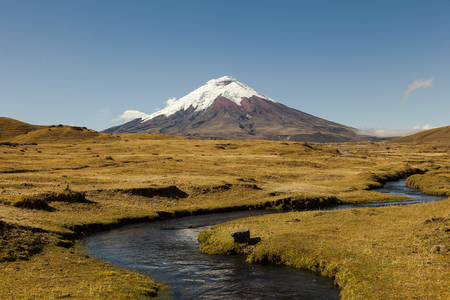 North entrance of Cotopaxi National Park, in the background the volcano and stream in the foreground