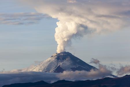 Cotopaxi volcano eruption seen from Quito, Ecuador