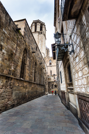 Narrow street of Piedad that borders the Cathedral of Barcelona