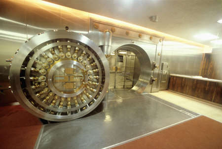 Bank vault door showing safety and strength of the facility
