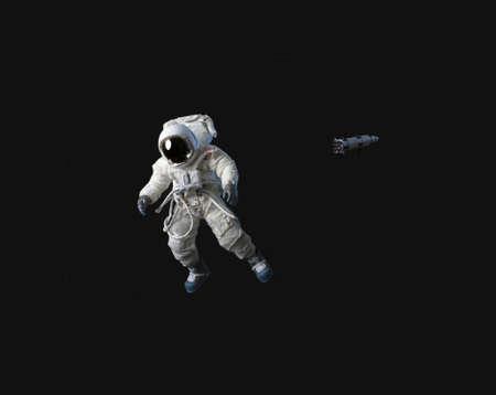 Photo pour An astronaut in black space.  He is American. - image libre de droit