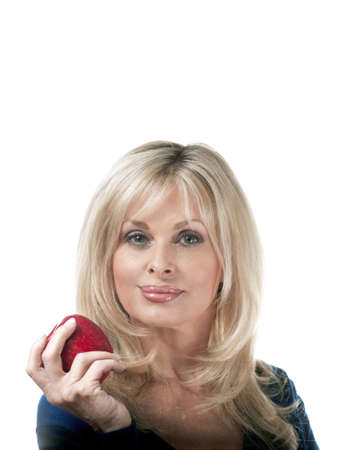 woman holding apple.