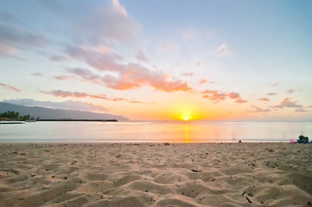 long exposure sunset in Haleiwa beach Oahu - Hawaii