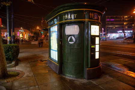 San Fancisco, California, United States - November 16, 2018: Public Toilet in the downtown city during night time.