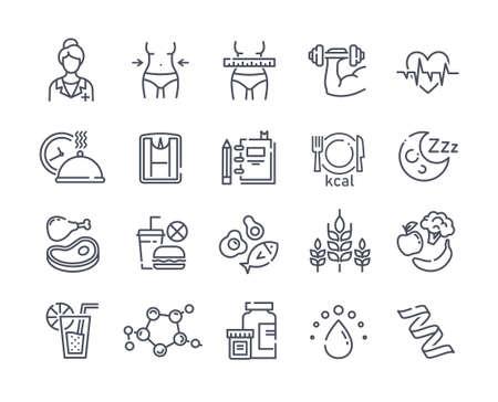 Illustration pour Large set of line black and white drawn diet icons - image libre de droit