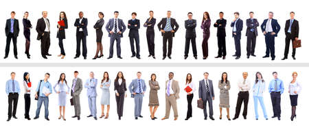 Crowd or group of business people isolated in white の写真素材