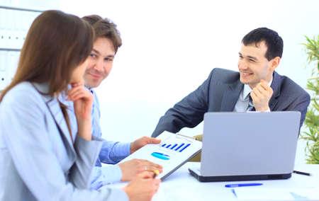 Foto de Group of business people in a meeting at office - Staff meeting  - Imagen libre de derechos
