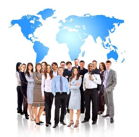 Photo pour Businessmen standing in front of an earth map - image libre de droit