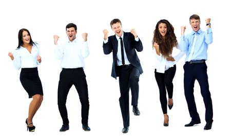 Foto de Very happy business people jumping and clenching their fists against white background - Imagen libre de derechos