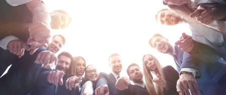 Foto per business, people and teamwork concept - business team showing  hand sign at office - Immagine Royalty Free